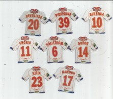 MAGNET , SPORT , FOOTBALL , Maillot équipe De LYON , Just Foot , 2009 , LOT DE 8 MAGNETS - Sports