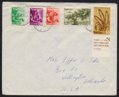 Agriculture, Trees, Aeroplane, Postal History Cover From ISRAEL 21.1.1959 Used To USA - Briefe U. Dokumente