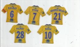 MAGNET , SPORT , FOOTBALL , Maillot équipe De SOCHAUX , Just Foot , 2009 , LOT DE 5 MAGNETS - Sports