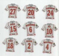 MAGNET , SPORT , FOOTBALL , Maillot équipe De MANCY , Just Foot , 2009 , LOT DE 9 MAGNETS - Sports