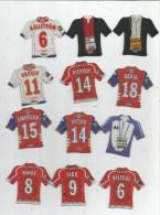 MAGNET , SPORT , FOOTBALL , Maillot équipe De Clubs Français , Entraineurs   , LOT DE 12 MAGNETS - Sports