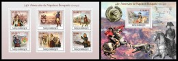 MOZAMBIQUE 2009 - Napoleon Bonaparte - Mi 3413-8 + B281, YT 2674-9 + BF204 - Militaria