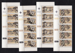 SOUTH WEST AFRICA, 1978, MNH Controls Strips, Bushmen, M 444-447 - South West Africa (1923-1990)