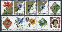 Aitutaki 1972 Cook Islands Flowers Overprint Set MNH - Aitutaki