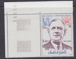 TAAF 1980 Charles De Gaulle 1v (corner + Sheet Number) ** Mnh (F4310) - Luchtpost