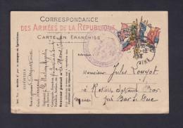 Carte En Franchise Militaire - Station Magasin Service De Santé Le Mans Pour Jules Louyot Rosieres Devant Bar Meuse - Marcophilie (Lettres)