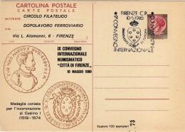 Italia 1980 Annullo Firenze IX Convegno Numismaticosu Cartolina Postale Repiquage - Expositions Philatéliques