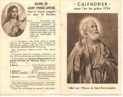 CALENDRIER POUR L' AN DE GRACE 1934