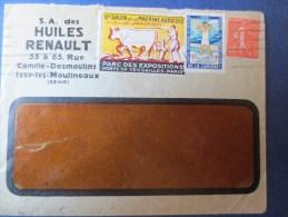 ENVELOPPE S.A. DES HUILES RENAULT 1929 (TIMBRES ET VIGNETTES) - Automobile