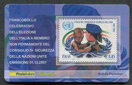 ITALIA TESSERA FILATELICA 2007 - ITALIA NEL CONSIGLIO DI SICUREZZA ONU - 265 - 6. 1946-.. Republik