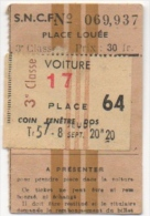 Ticket Chemin de Fer. S.N.C.F. Place Lou�e. 3� Classe.
