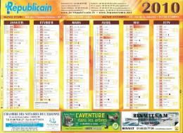 Calendrier publicitaire. Le R�publicain, quotidien de l'Essonne, 2010.