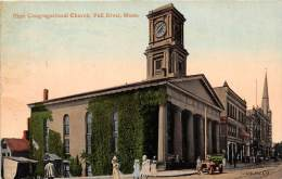 25764 MA, Fall River, 1910, First Congregational Church, car and ladies walking by church