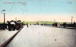 25774 MA, Fall River, 1915, New Bridge, famalies walking on sidewalks while cars passing by, No. 10482
