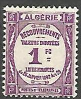 ALGERIE TAXE N� 19 NEUF*   CHARNIERE  / MH