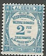 ALGERIE TAXE N� 20 NEUF*   CHARNIERE  / MH