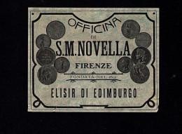 # ELISIR EDIMBURGO S.MARIA NOVELLA FIRENZE Label Italy, Liquor Spirits Etiquette Alcool Etiqueta Licor Etikett Schnaps - Alcoolici