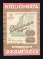# STOLICHNAYA RUSSIAN VODKA Imported From The USSR, Label Liquor Spirits Etiquette Alcool Etiqueta Licor Etikett Schnaps - Spirits