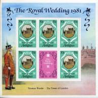 1981 Antigua Charles Diana Royal Wedding 3 M/Sheets MNH - Koniklijke Families