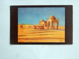 carte postale ancienne : TOUGGOURT : Peinture des Tombeaux des Rois, publicit� du Syndicat d'Initiative