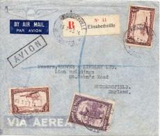 CONGO BELGE LETTRE RECOMMANDEE POUR L'ANGLETERRE 1935