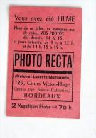 Ticket Pour Retirer Une Photographie, PHOTO RECTA , 129, Cours Victor Hugo, Bordeaux - Photographie