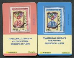 ITALIA TESSERA FILATELICA 2006 - EMISSIONE DEDICATA AI DICIOTTENNI - 02 TESSERE - 060 - 6. 1946-.. Republik