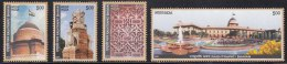 India MNH 2011, Set Of 4,  Rashtrapati Bhavan, Monument, Tulip Flower, Flag, Carving, Water Fountain, Elephant Head - Unused Stamps