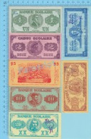 Banque Ou Caisse Scolaire Quebec  $1, $2, $5, $10, $20, $50, $100   Par Frères Des Ecoles  Chrétiennes Copy R-1920 2 Sca - Monnaies & Billets