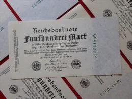 BILLET NEUF SERIE W X 10 REICHSBANKNOTE 500 MARK 1922 - [ 3] 1918-1933: Weimarrepubliek