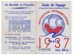 Exposition Internationale PARIS 1937 - Carte de Voyage � l�usage des visiteurs r�sidant en France - Prix 20 Francs