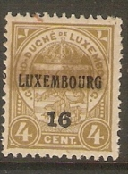 Luxembourg 1916 Prifix Nr. 106 Plakker Vet - Luxembourg
