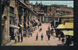 VALLETTA MALTA- Strada Marin -animée Cpa Couleur écrite 1918-PAYPAL SANS FRAIS -FREE - Malta