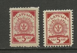 LETTLAND Latvia 1920 Michel 46 A + B MNH - Letonia