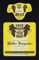 # WEISSER BURGUNDER 1984 JUST RUST AM SEE AUSTRIA  Wine Label Wein Vino Vin Etiquette Etiqueta Etikett - Etiketten