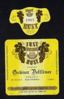 # GRUNER VELTLINER 1983 JUST RUST AM SEE AUSTRIA  Wine Label Wein Vino Vin Etiquette Etiqueta Etikett - Etiketten