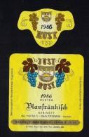 # BLAUFRANKISCH 1986 JUST RUST AM SEE AUSTRIA  Wine Label Wein Vino Vin Etiquette Etiqueta Etikett - Etiketten