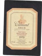 étiquette RHUM CLEMENT Très Vieux Rhum Agricole Pur Martinique 1970 - Rhum
