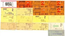 Lot de 17 Billets Titres de Transport SNCF RATP AUTOBUS CARTE ORANGE BATEAUX MOUCHES Ann�e 80