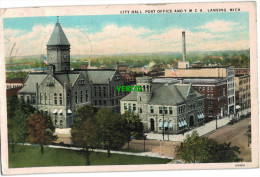 Carte Postale Ancienne De LANSING – CITY HALL, POST OFFICE AND Y.M.C.A. - Lansing