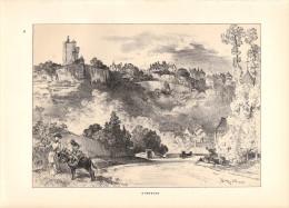 Albert ROBIDA Lithographie Originale : Domfront - 1891 - FRANCO DE PORT - Lithographien