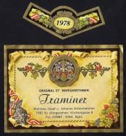 # TRAMINER 1978 SCHEUHAMMER St.MARGARETHEN AUSTRIA  Wine Label Wein Vino Vin Etiquette Etiqueta Etikett - Etiketten