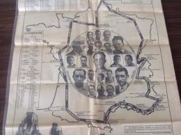 1936 CARTE DU TOUR DE FRANCE - 30 e TOUR DE FRANCE DU 7 Juillet au 2 Ao�t 1936 - 4414 Km - 21 �TAPES
