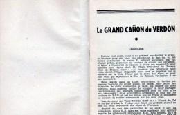 58Ch  Livret Et Carte Du Grand Cañon Du Verdon Gorges Et Routes Touristiques De André Monier à Rougon En 1950 - Topographical Maps