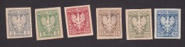 Poland, Scott #61, 63, 665-67, 70, Mint Hinged, Polish Eagle, Issued 1919 - Ongebruikt