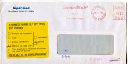 Adresse Erronnée,etiquette Jaune De La Poste,EMA Spanset,materiel De Securité,92 Clichy,lettre Obliterée 5.7.1984 Clichy - Poststempel (Briefe)