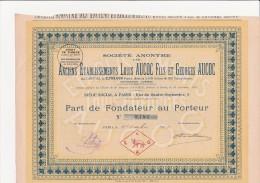 PART DE FONDATEUR - ANCIENS ETABLISSEMENTS LOUIS AUCOC ET GEORGES AUCOC  -ANNEE 1921 - Altri