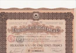 OBLIGATION 6,5 % DE 500 FRANCS - ETABLISSEMENTS DUCHESNE  A VILLEURBANNE.  1921 - Industrie