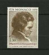 "MONACO  1970    N° 842   ""Bicentenaire De La Naissance De Ludwig Von Beethoven""          NEUF - Unused Stamps"