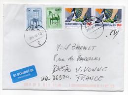 2015--Lettre De Hongrie Pour La France-cachets Ronds-composition De Timbres-envoi En Fausse Direction-- - Hongrie